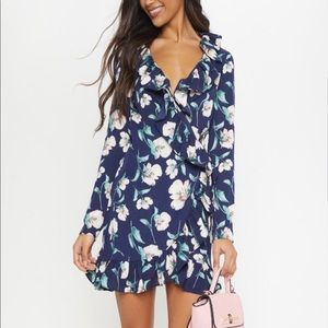 Pretty little thing navy floral wrap dress size 0